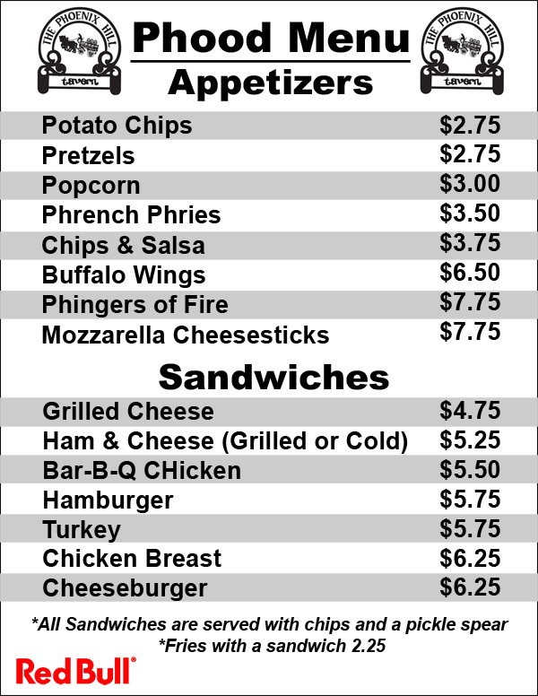 Phood Menu